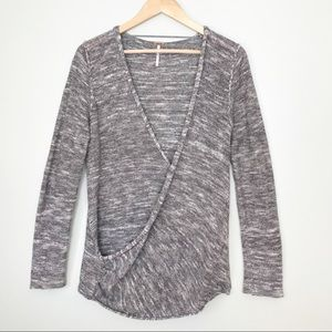 Free People Faux Wrap Gotham Gray Knit Top Medium